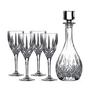 Royal Doulton 5 piece polished finish crystalline and crystal wine decanter set
