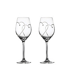 Royal Doulton - Set of 2 crystalline 'Promises Two Hearts Entwined' wine glasses