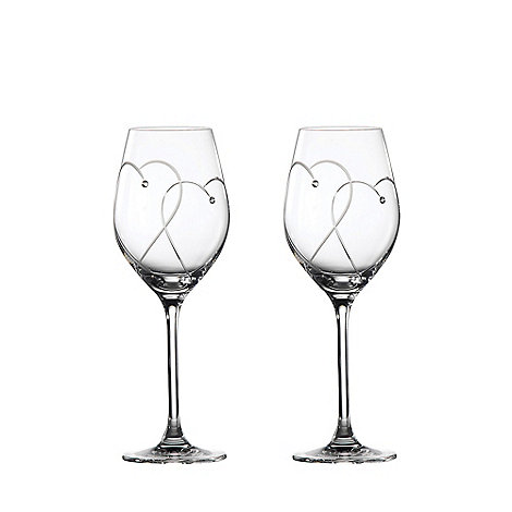 Royal Doulton - Set of two 'Promises Two Hearts Entwined' Crystalline wine glasses