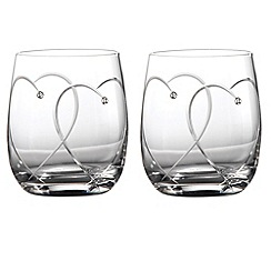 Royal Doulton - Set of two 'Promises Two Hearts Entwined' Crystalline heart tumblers