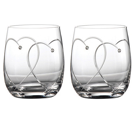Royal Doulton - Set of two +Promises Two Hearts Entwined+ Crystalline heart tumblers