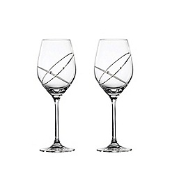 Royal Doulton - Set of two crystaline 'Promises With This Ring' wine glasses