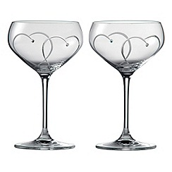 Royal Doulton - 'Promises Two Hearts Entwined' crystalline two piece cocktail glasses