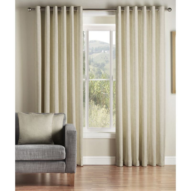 Montgomery Grey Hoxton Lined Eyelet Curtains