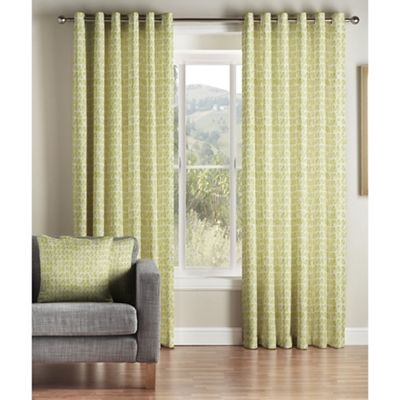 Montgomery Green Java Lined Eyelet Curtains