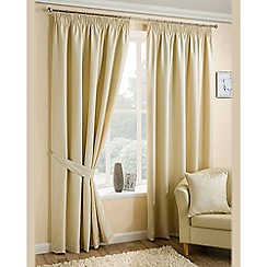 Joshua Thomas - Natural 'Ariel' Fully Lined Pencil Pleat Curtains
