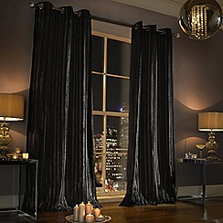Ashley Wilde - Black 'Iliana' Fully Lined Eyelet Curtain