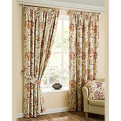 Joshua Thomas - Spice 'Jacobean' Fully Lined Pencil Pleat Curtains