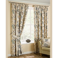 Joshua Thomas - Azure 'Jacobean' Fully Lined Pencil Pleat Curtains