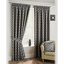 Joshua Thomas - Pewter 'Oregon' Fully Lined Pencil Pleat Curtains