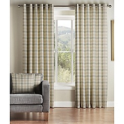 Montgomery - Natural 'Kirkwall Check' Lined Eyelet Curtains