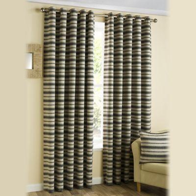 Joshua Thomas Charcoal Horizon Eyelet Curtains - . -