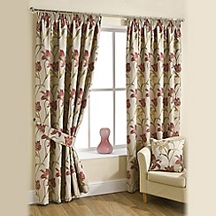 Joshua Thomas - Red 'Lilly' Pencil Pleat Curtains
