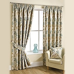 Joshua Thomas - Aqua 'Lilly' Pencil Pleat Curtains