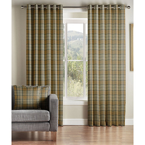 montgomery mustard lined eyelet curtains