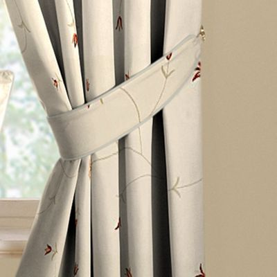 Zandia Spice lined curtains tiebacks