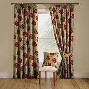 Red 'Elston' lined curtains with pencil heading