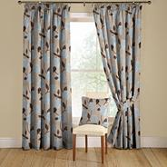 Teal 'Elston' lined curtains with pencil heading