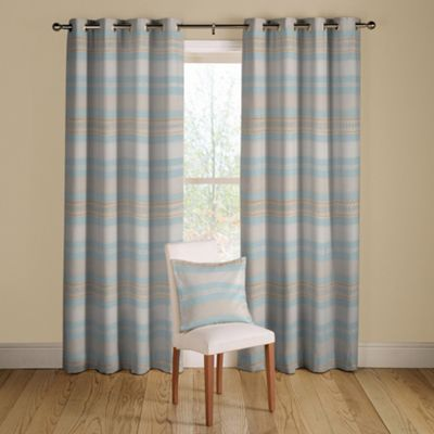 Teal Samba lined curtains eyelet heading