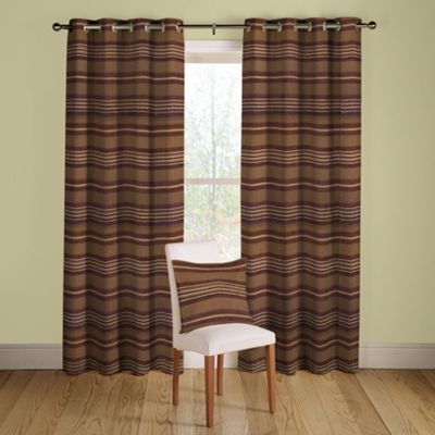 Chocolate Samba lined curtains eyelet heading