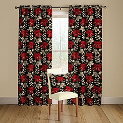 Montgomery - Black 'Mimosa' lined curtains with eyelet heading