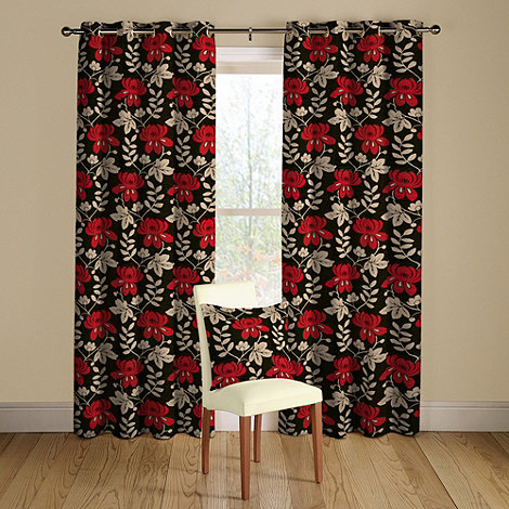 Montgomery - Black +Mimosa+ lined curtains with eyelet heading