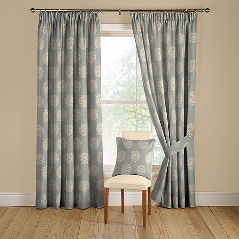 Montgomery - Duck egg 'Pom Pom' lined curtains with pencil heading