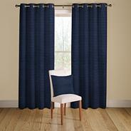 Navy 'Rib Plain' lined curtains with eyelet heading