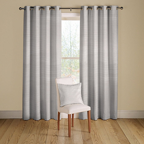 Montgomery - White +Rib Plain+ lined curtains with eyelet heading