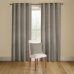 Montgomery - Pewter 'Rib Plain' lined curtains with eyelet heading