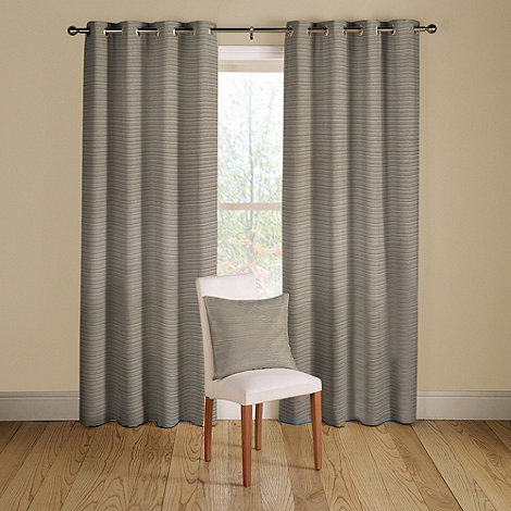 Montgomery - Pewter +Rib Plain+ lined curtains with eyelet heading