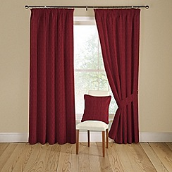 Montgomery - Red 'Orleans' lined curtains with pencil heading