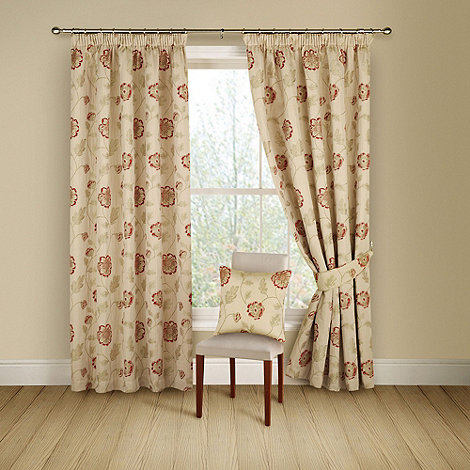 Montgomery - Red +Poppy Trail+ lined curtains with pencil heading