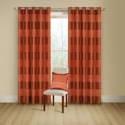 Montgomery Terracotta Arianna lined curtains with eyelet