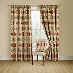 Montgomery - Terracotta 'Kyra' lined curtains with pencil heading