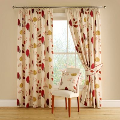 Montgomery Terracotta Cleo lined curtains with pencil