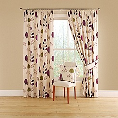Montgomery - Aubergine 'Cleo' lined curtains with pencil heading
