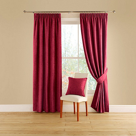 Montgomery - Red 'Vogue' lined curtains with pencil heading