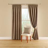 Taupe 'Vogue' lined curtains with pencil heading