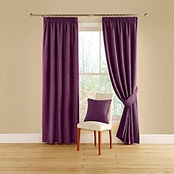 Montgomery - Aubergine 'Vogue' lined curtains with pencil heading