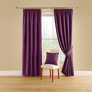 Aubergine 'Vogue' lined curtains with pencil heading