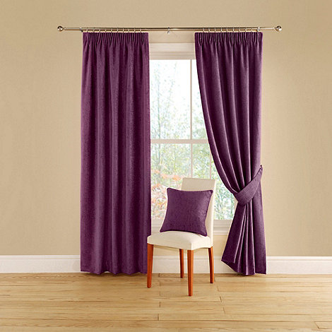 Green Curtains aubergine and green curtains : Montgomery Aubergine 'Vogue' lined curtains with pencil heading ...