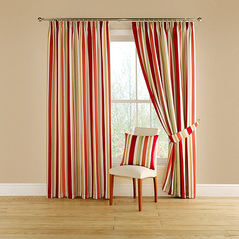 Montgomery - Red +Festival+ lined curtains with pencil heading