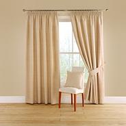 Natural 'Totem' lined curtains with pencil heading