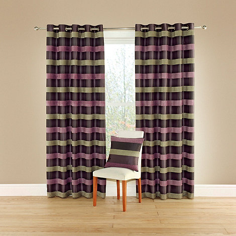 Montgomery - Aubergine +Casino+ lined curtains with eyelet heading