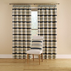 Montgomery - China Blue 'Vintage Stripe' Lined Curtains With Pencil Heading
