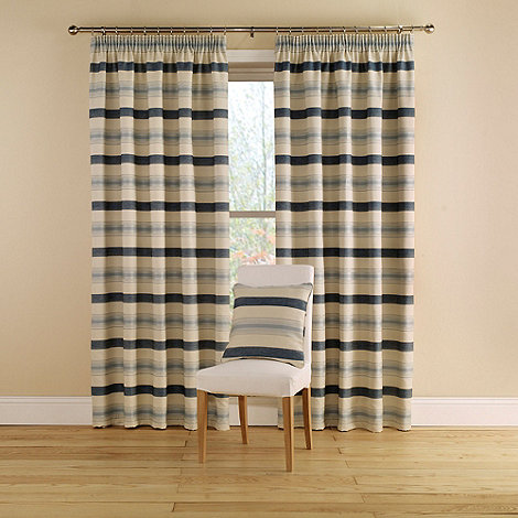 Montgomery - China Blue +Vintage Stripe+ Lined Curtains With Pencil Heading