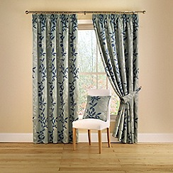 Montgomery - Teal 'Botanica' Lined Curtains With Pencil Heading