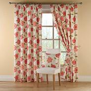 Red 'Rosaline' fully lined curtains with pencil heading