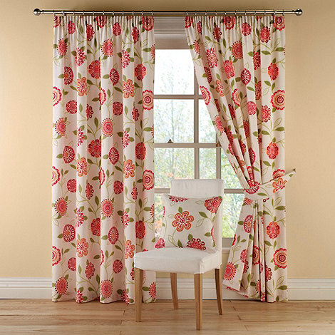 Montgomery - Red +Rosaline+ fully lined curtains with pencil heading
